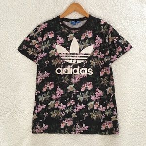 adidas floral orchid trefoil logo tee